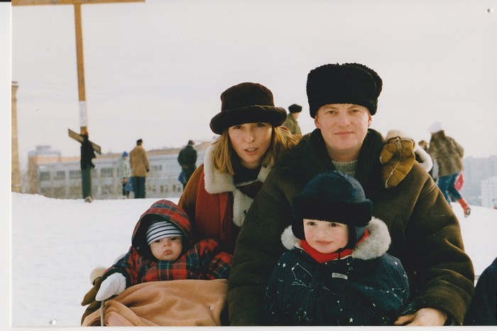 Jack (bottom right) and his family in Moscow